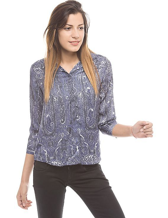 Minimum 30% Off on Top Brands Like US Polo Assn Flying Machine, Arrow & More | ARROW WOMAN  Blenny Purple Notched Lapel Top By NNNOW @ Rs.1,610