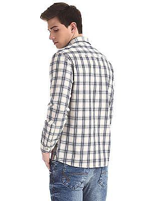 Cherokee White Rounded Cuff Check Shirt