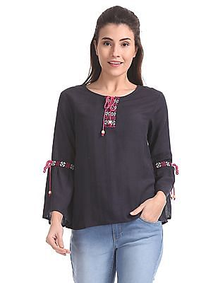 Bronz Embroidered Long Bell Sleeve Top