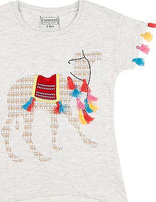 Cherokee Girls Tasselled Trim Heathered Top