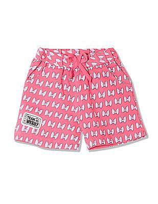 Colt Girls Bow Print Knit Shorts