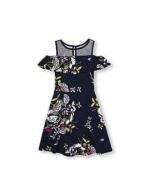 The Children's Place Girls Short Sleeve Mesh Cold Shoulder Ponte Knit Dress