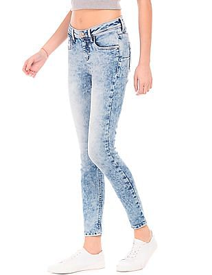 Flying Machine Women Acid Wash Super Skinny Jeans
