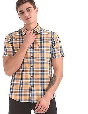 U.S. Polo Assn. Yellow Check Cotton Shirt