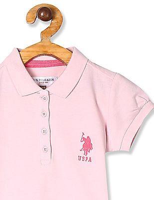 U.S. Polo Assn. Kids Pink Girls Solid Pique Polo Shirt