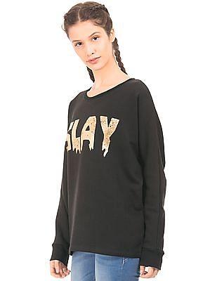 EdHardy Women Foil Print Boxy Sweatshirt