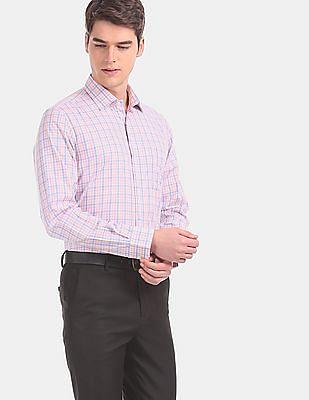 Arvind Men Multi Colour Regular Fit Check Formal Shirt