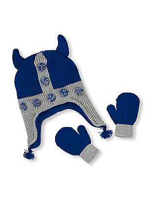 The Children's Place Toddler Boy Viking Pom Hat And Mittens Set