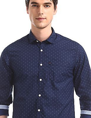 Flying Machine Blue Barrel Cuff Printed Shirt