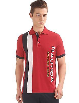 Nautica Brand Applique Panelled Polo Shirt