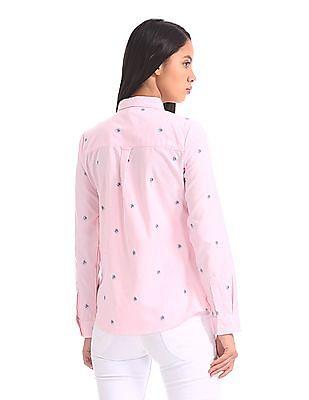 U.S. Polo Assn. Women Vertical Stripe Button Down Shirt