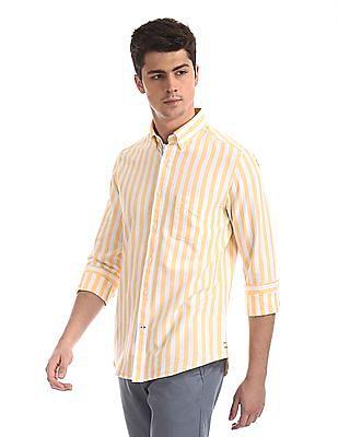 Arrow Sports Yellow Button Down Collar Striped Shirt