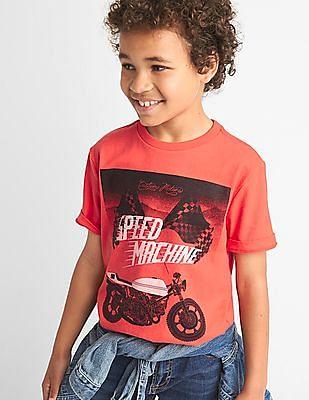 GAP Boys Red Graphic Short Sleeve Tee