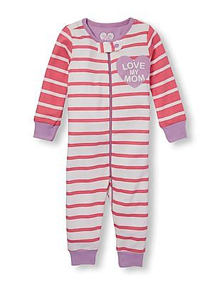 The Children's Place Baby Heart Striped Full Sleeve Bodysuit
