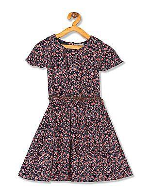 Cherokee Girls Floral Print Belted Dress