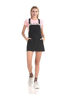 Aeropostale Solid Dungaree Skirt