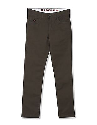 U.S. Polo Assn. Kids Slim Fit Solid Trousers