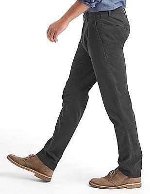 GAP Men Grey Herringbone Slim Fit Khakis