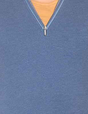 Cherokee Long Sleeve Zipper Placket T-Shirt