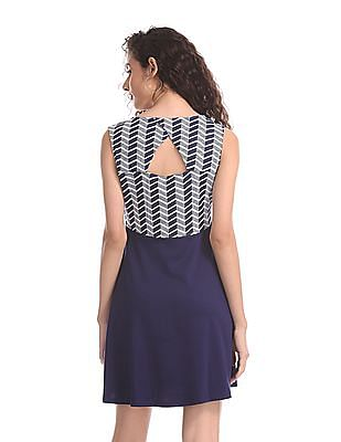 SUGR Blue Sleeveless Fit And Flare Dress