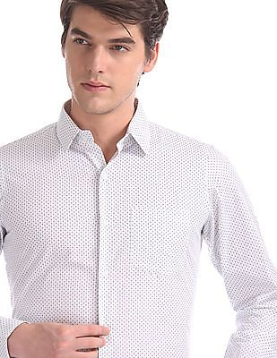 Excalibur White Rounded Cuff Printed Shirt