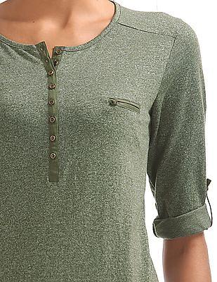 Cherokee Mock Pocket Heathered Top