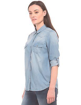 U.S. Polo Assn. Women Washed Regular Fit Chambray Shirt
