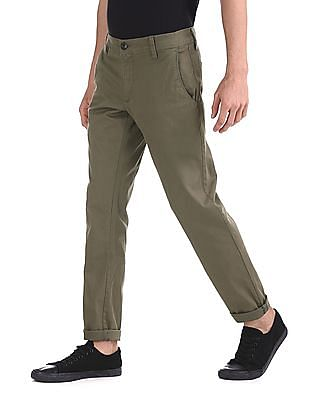 Ruggers Green Modern Slim Fit Solid Trousers