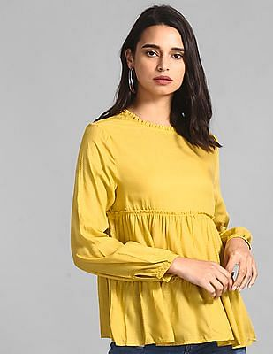 GAP Women Yellow Tiered Ruffle Top
