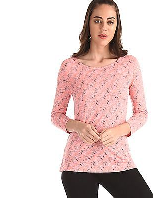 Cherokee Pink Round Neck Printed Top