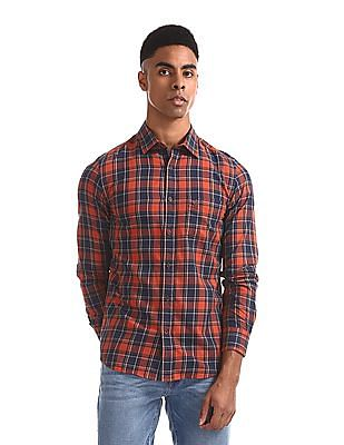 Arrow Sports Red And Navy Mitered Cuff Check Shirt