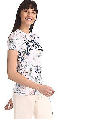 Aeropostale White Floral Print Crew Neck T-Shirt