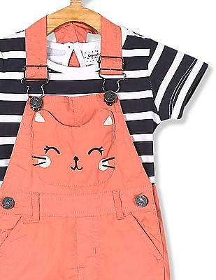 Donuts Pink Girls Dungarees With Striped T-Shirt