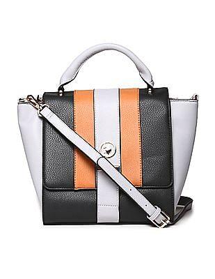 U.S. Polo Assn. Women Detachable Sling Strap Colour Block Hand Bag