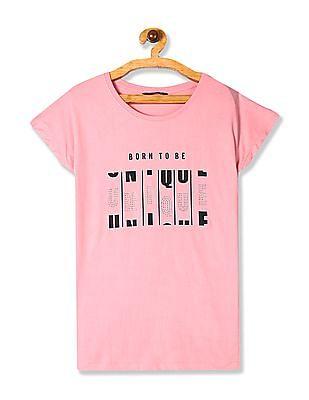 SUGR Pink Embellished Front Cotton T-Shirt