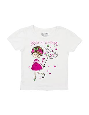 Cherokee Girls Foil Printed T-Shirt