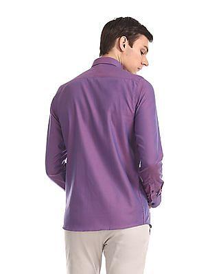 Excalibur Purple Super Slim Fit Two Tone Shirt