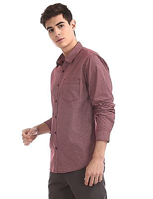 Ruggers Red Spread Collar Printed Shirt