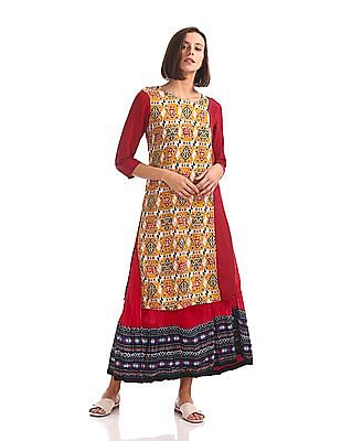 Karigari Printed Panel Round Neck Kurta