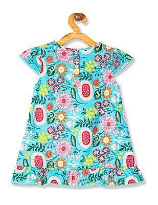 Donuts Girls Pom Pom Trim Printed Dress