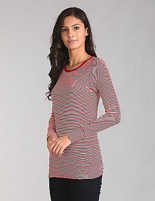 GAP Women Red Long Sleeve Stripe Tunic Tee