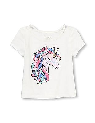 The Children's Place Toddler Girl Embellished Cut-Out Graphic Top