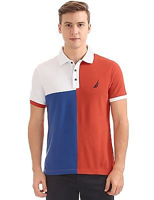 Nautica Short Sleeve Blocked Polo