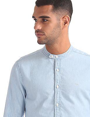 Flying Machine Mandarin Collar Washed Denim Shirt