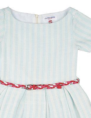 U.S. Polo Assn. Kids Girls Jacquard Fit And Flare Dress