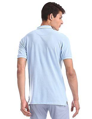 U.S. Polo Assn. Blue Solid Pique Polo Shirt