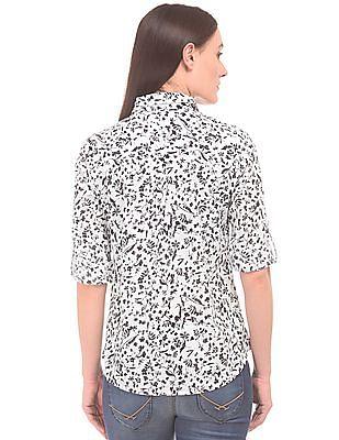 U.S. Polo Assn. Women Floral Printed Pop-Over Shirt