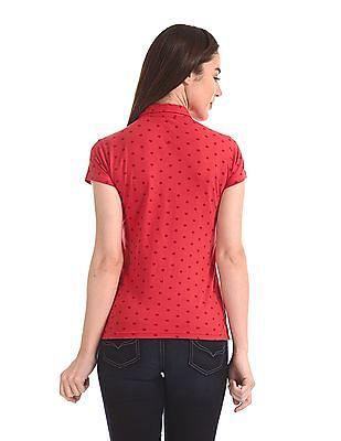 Flying Machine Women Short Sleeve Printed Polo Shirt