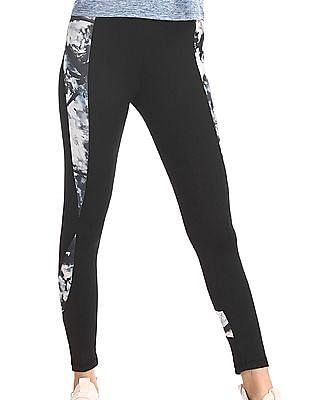 SUGR Black Printed Panel Active Leggings