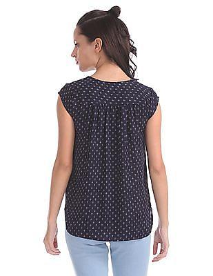 Elle Studio Printed Short Cap Sleeve Top